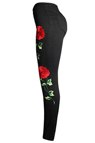 Las Zinmuwa Bordado Pantalones Mujeres Rasgados Pantalones Skinny Denim Jeans Black FqUdq