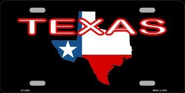 (MADE IN THE USA - Texas Map License Plate, State Flag Aluminum 6