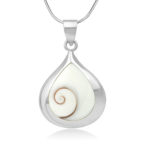 - 925 Sterling Silver Natural Shiva Eye Swirl Shell Inlay Teardrop Pendant Necklace, 18