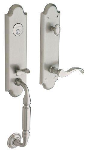 Manchester Single Cylinder Entrance Leverset, Exterior Handle Only Finish: Satin Nickel, Handing: Left
