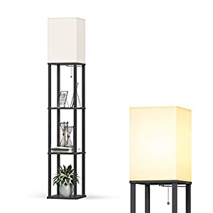 Addlon LED Modern Shelf Floor Lamp with White Lamp Shade and LED Bulb – Display Shelves Floor Lamps for Living Room Bedroom and Office – Classic Black