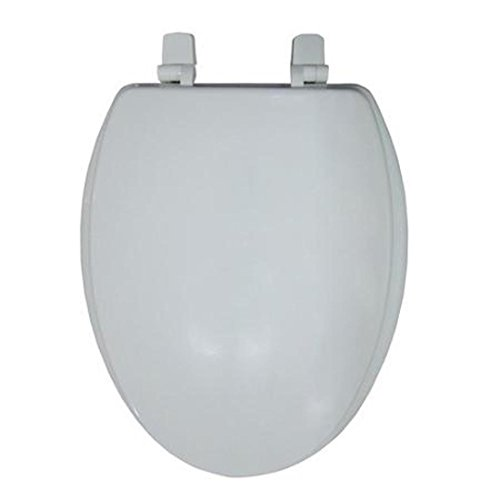 """Mainstays 19"""" Elongated Wooden White Toilet Seat"""