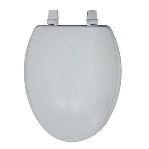 elongated wooden white toilet seat