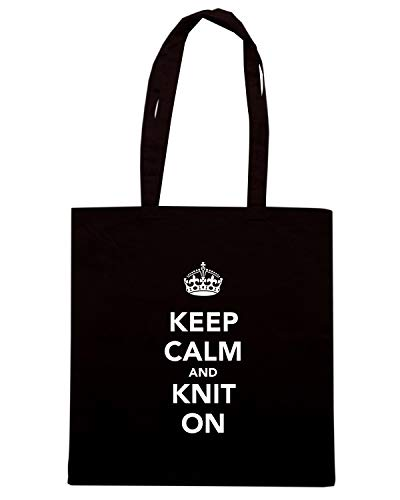 TKC0813 KNIT Borsa Nera Shopper KEEP ON CALM AND qxxRgBYw