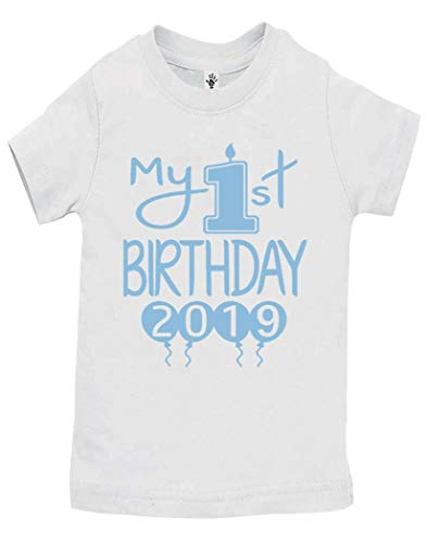 (Reaxion Aiden's Corner Handmade 1st Birthday Baby Clothes - Baby Boy My First Birthday Bodysuits & Shirts (Shirt 12 Months, 2019 Lt Blue White SH) )