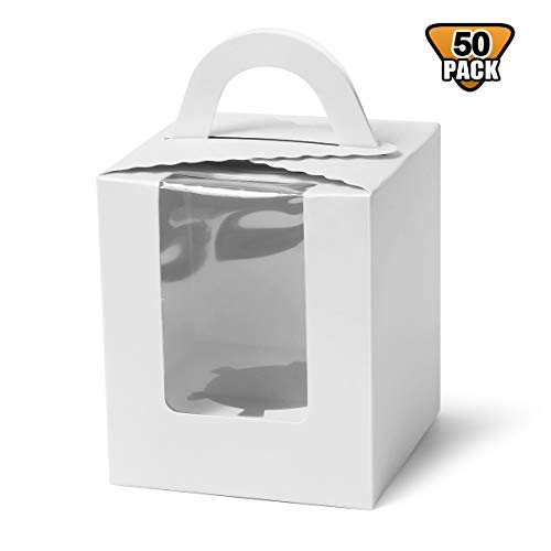 Single Cupcake Boxes, Soundpretty Individual Cardboard Cupcake Box with Inserts Bakery Cupcake Carriers with Window and Handle for Wedding Birthday Parties -
