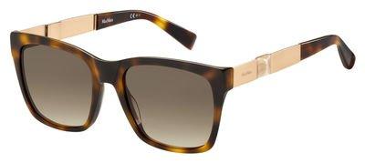 Max Mara MM Stone I HWH Havana / Gold MM Stone I Square Sunglasses Lens - Mara Max Square Sunglasses