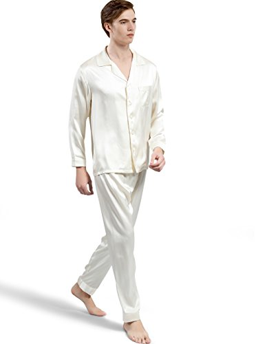 ElleSilk Men's Silk Pajamas Set, 100% Pure Silk Nightwear