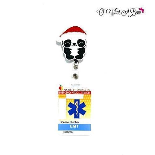 Santa Panda Bear Retractable Badge Reel