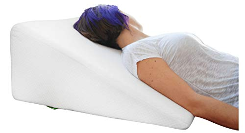 Pillow with Memory Foam Top - Best for Sleeping, Reading, Rest or Elevation - Breathable and Washable Cover (12 Inch Wedge, White) ()