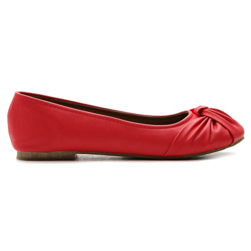 Ollio Womens Ballet Shoe Comfort Schattige Multi Kleur Plat Rood