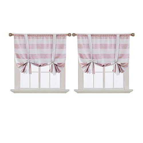 Deconovo Striped Room Darkening Curtains Rod Pocket Kids Sun Blocking Curtains Tie Up Drapes for Kids Room 46W X 45L Pink Lavender 2 Panels