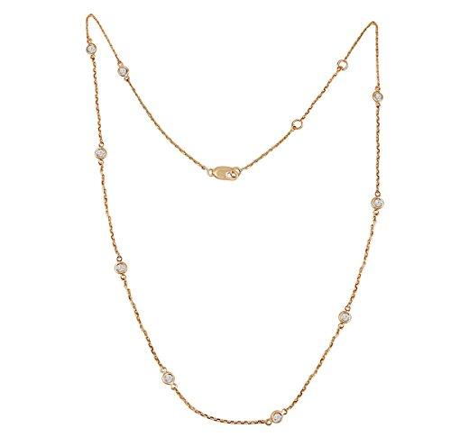 Samaya Jewels 1/2ct Bezel Set Diamond by The Yard 14k Rose Gold Station Necklace 16