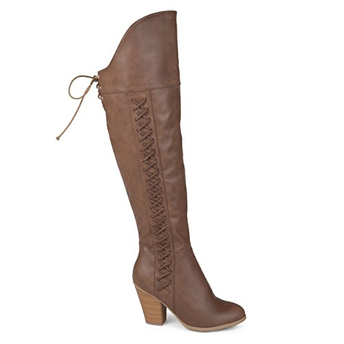 Leather Knee Boots Faux Co Faux Brown Brinley Over The Womens Lace Regular Calf Wide Siro and up Distressed pwzq4