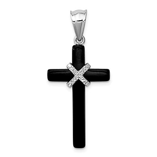 (925 Sterling Silver Black Onyx Cross Religious Pendant Charm Necklace Fine Jewelry Gifts For Women For)