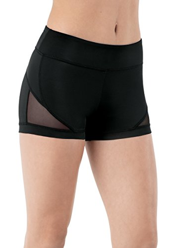 Balera Shorts Girls For Dance Womens Bottoms With Mesh Low Rise Black Adult Large (Low Workout Rise Short)