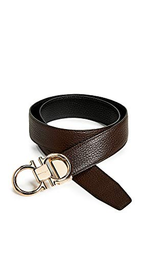 Salvatore Ferragamo Men's Rose Gold Double Gancio Reversible Belt, Brown/Black, 32 (Reversible Double Gancini Calfskin Leather Belt Salvatore Ferragamo)