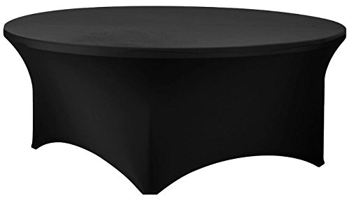 72 Inch Round Spandex Table Cover (Black) by Banquet Tables Pro
