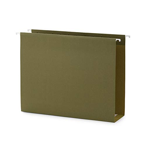 Blue Summit Supplies Extra Capacity Hanging File Folders, 25 Reinforced Hang Folders, Heavy Duty 3'' Expansion, Letter Size, Designed for Bulky Files and Charts, Letter Size, Standard Green, 25 Pa