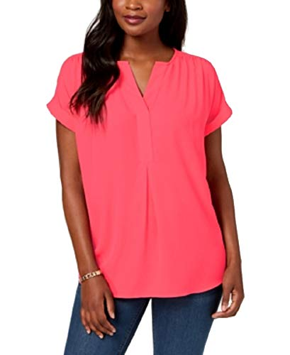 Charter Club Cuffed-Sleeve Split-Neck Top (Coral Flash, L)