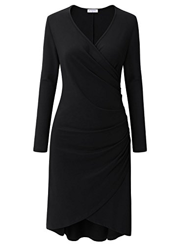 Bulotus Women Stunning V-Neck Ruched Asymmetric Bodycon Wedding Party Dress Black - Surplice Cotton Dress