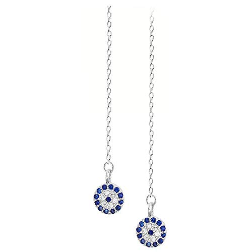 925 Sterling Silver Blue Evil Eye Chain Long Dangle Threader Earrings For Women Teen Girls (Blue)
