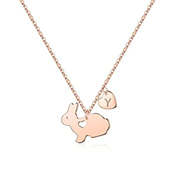 Yoosteel Easter Bunny Presents for Children, 14K Rose Gold Plated Dainty Coronary heart Preliminary Necklace Engraved Love Coronary heart Cute Animal Bunny Easter Presents for Children Women Jewellery Daughter Toddlers