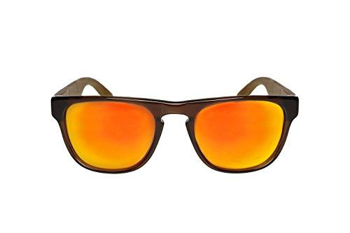 8wake Bamboo Wayfarer POLARIZED Sunglasses Featuring Mirror Lenses, Includes Soft Case, Rush Brown Orange - Inexpensive Best Sunglasses Polarized