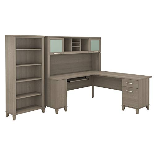 Bush Furniture Somerset 72W L Shaped Desk with Hutch and 5 Shelf Bookcase in Ash Gray
