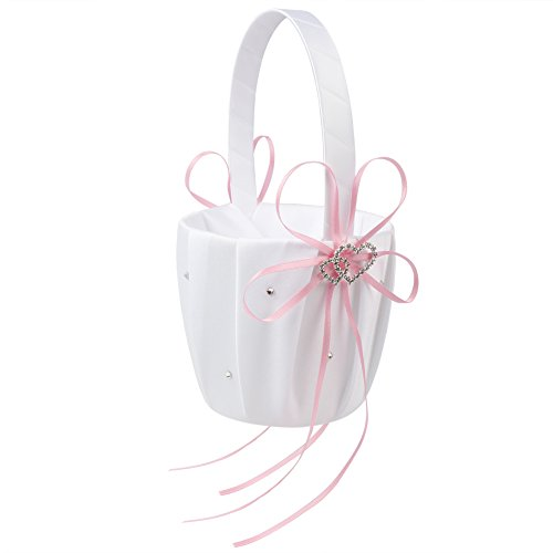 - OurWarm Double Heart Wedding Flower Girl Basket White Satin Rhinestone Decor Pink Wedding Party Favor