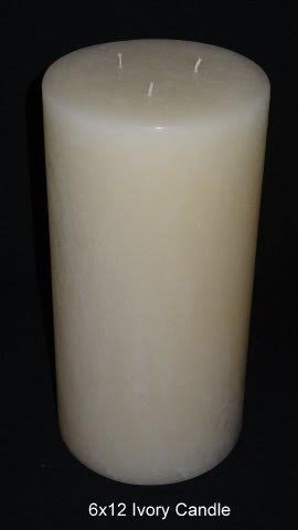 Pillar Candle   Ivory, 6x12, Unscented, Hand Poured (3 Wick)