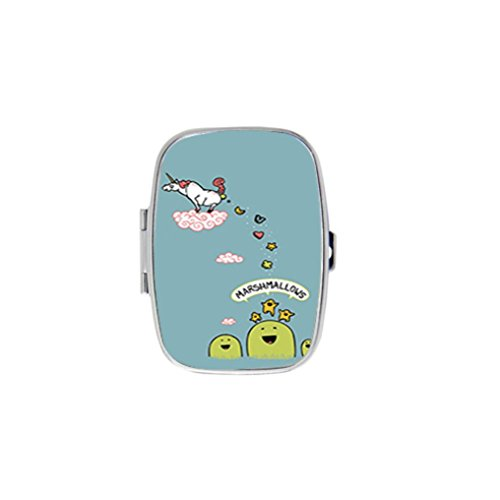 Unicorn Funny Cute Cartoon Marshmallows Stainless Steel Rectangular Pill Box Medicine Organizer Container Case Pocket or Purse