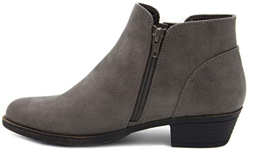Image of Rampage Women's Tulsa Dress Block Heel Ankle Boot Ladies Side Zip Bootie with Triple Buckle Over Open Ankle