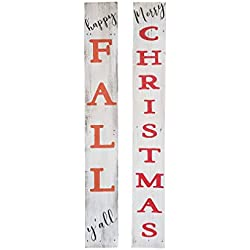 Rockin' Wood Reversible Sign for Fall and Christmas - 5 feet Tall - Perfect Front Porch Sign with Rustic Farmhouse Character-Happy Fall Y'all and Merry Christmas