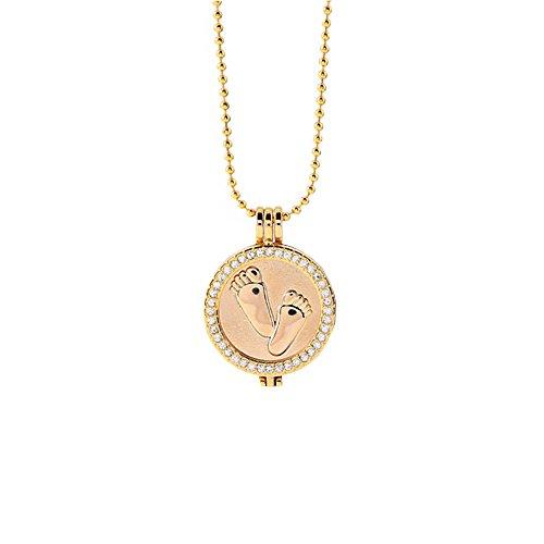Damen Kette mit Anhänger Babyfuß Steine Kristall mit Geschenkschachtel Zink-Legierung ideal als Geschenk 88818