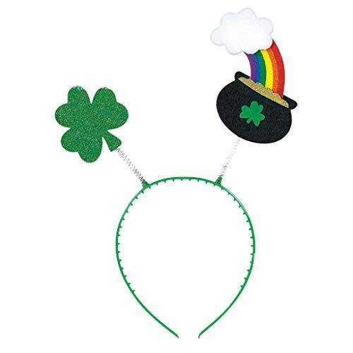 pengchengxinmiao St. Patrick's Day Green Irish Headband Top Hat Headwear Head Buckle Hairband Festival Shamrock Rainbow Novelty Party Festival Holiday Costume Accessories Fun Decor (Green, -