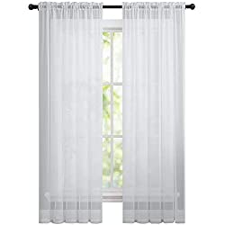 GoodGram 2 Pack: Basic Rod Pocket Sheer Voile Window Curtain Panels in White by (84 in. Long)