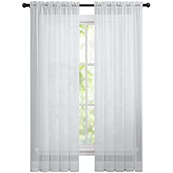 GoodGram 2 Pack Basic Rod Pocket Sheer Voile Window Curtain Panels In White By