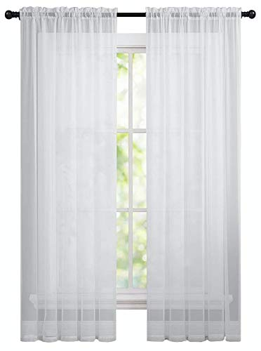 GoodGram 2 Pack: Basic Rod Pocket Sheer Voile Window Curtain Panels in White by (84 in. (Voile Curtain Panel)