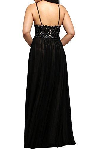 Milano Bride Elegant Schwarz Langes Abendkleider Spitze Chiffon Partykleider Promkleider Lang Festliche Kleider