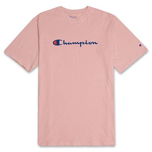 (Champion Men's Classic Jersey Script T-Shirt Blush 2X Tall)