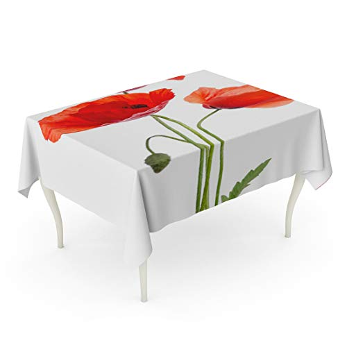 Tarolo Rectangle Tablecloth 60 x 84 Inch Green Poppy Bouquet of Red Poppies Flower Papaver Arrangement Beauty Bloom Table Cloth