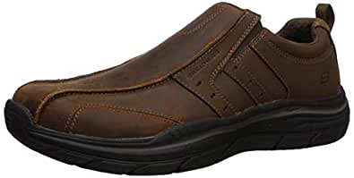 Skechers Mens Expected 2.0-Wildon Leather Slip on Leather Slip on Brown Size: 7