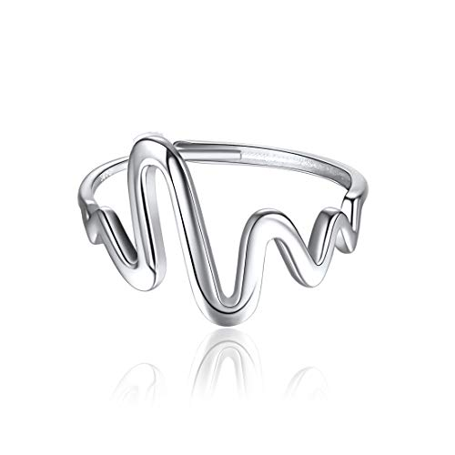 ChicSilver 925 Sterling Silver Heartbeat Ring EKG Lifeline Pulse Band Adjustable Open Ring Sizes -