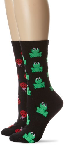 K. Bell Socks Women's Silly Frogs and Large Ladybug 2 Pack
