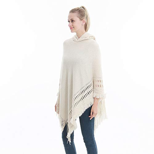 Sefilko Womens Knitted Hooded Poncho Tops Shawl Cape Batwing Blouse With Fringed Sides For Lady (Beige) by Sefilko (Image #4)