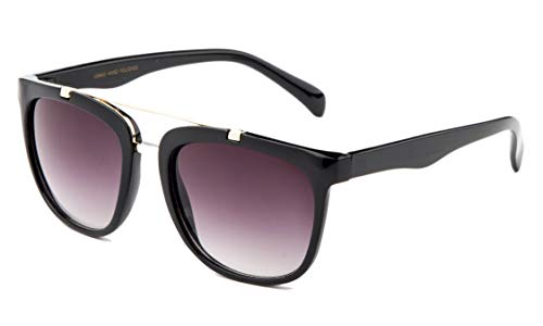 "Mens & Womens ""The Classic Brow Bar"" Retro Stylish Very Popular Sunglasses Hipster, Black Frame - Smoke Lens ()"