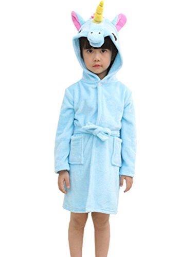 Chicone Kid's Coral Fleece Unicorn Hooded Bathrobe Fluffy Sleep Robe for Boys and Girls Blue -