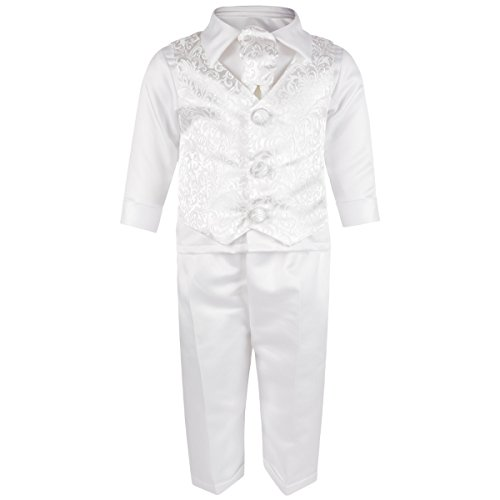 Baby Boys 4 Piece Christening Wwedding Special Occassion Outfit White