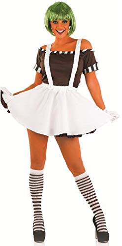 5 Pc Ladies Sexy Oompa Loompa with Wig Halloween Book Day Fancy Dress Costume Outfit 8-22 Plus Size (UK 8-10) White ()